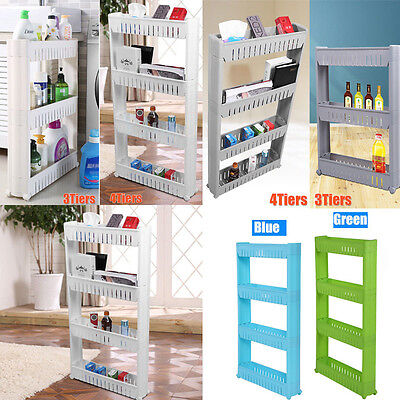 3/4 Layers Slide Out Storage Tower Folding Rolling Castor Kitchen Trolley Rack