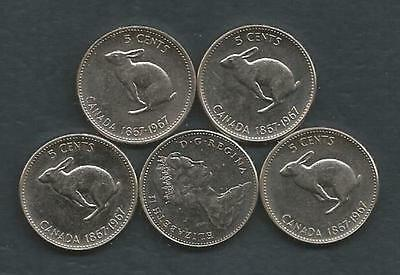 Canada - 1967 - 5 Cents - 5 Coins - lot