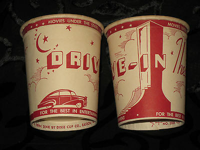 Vintage Dixie Cups DRIVE IN THEATRE w/cool art deco graphics NOS Unused Awesome