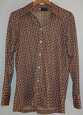 Vintage Givenchy Paris Mens 70s Disco Shirt LS Button Brown Cream Checkered L