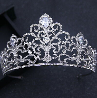 7cm High Luxury Flower Clear Drip CZ Crystal Tiara Crown Wedding Prom Pageant