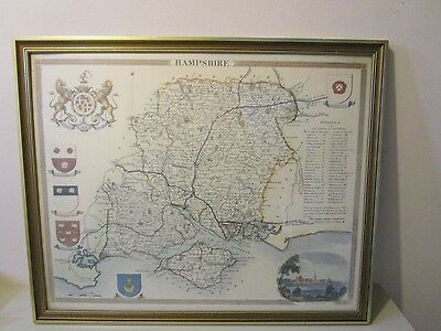 Beautiful Framed Antique Map Of Hampshire Print? Lovley Item