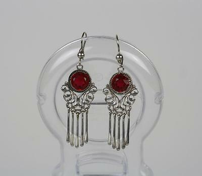 Russian Soviet Art Deco Design Solid Silver Earrings 925 Marked