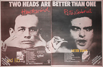 """PETER GABRIEL AND HAWKWIND - TOURING, LARGE 2-PAGE ADVERT 22.5"""" x 16"""" AD 1977"""