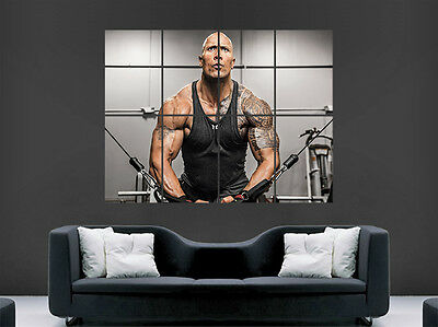 Dwayne Johnson Poster Fitness Gym Weightlifting Bodybuiding Sport Image Huge