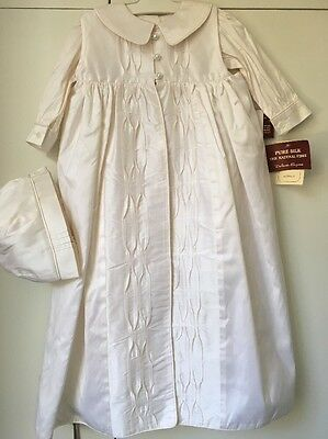 Unisex Ivory Silk Baptism / Christening Dress Gown Suit size 0