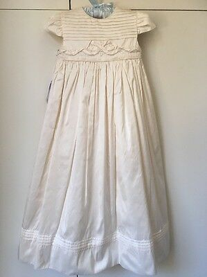 Girls Cream Silk Baptism / Christening Dress Gown Suit size 0