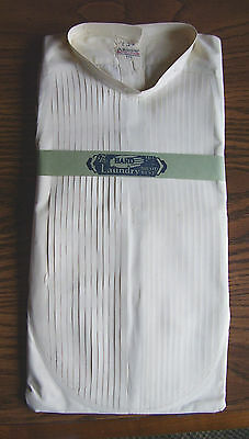 Vintage 1920's Arrow Ribbed Tuxedo Dress Shirt- Removable Collar - French Cuffs
