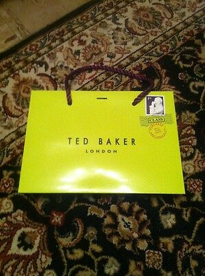 Soft cardboard gift bag Ted Baker very small green paper carrier bags no tag