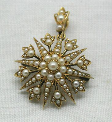 Beautiful Antique 15ct Gold And Seed Pearl Brooch / Pendant