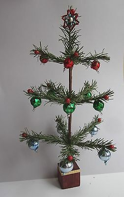 "VINTAGE 11""  tall PAPER / FABRIC MADE  CHRISTMAS FEATHERTREE with Glass Icicles"