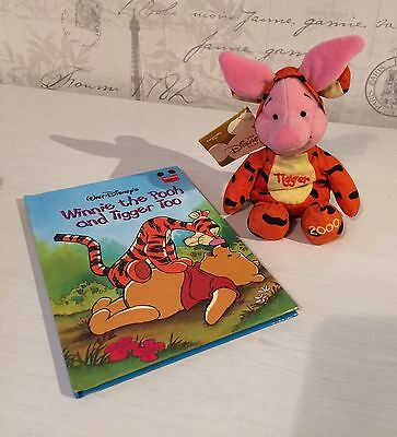 Disney Piglet Dressed As Tigger Plush Beanie Toy With Winnie The Pooh Book