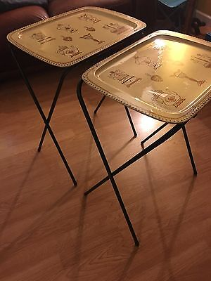 Vintage Metal Folding TV Trays With Legs, Kitchen Themed Prints. Cream. Retro