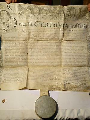 Antique 1785 LEEDS Recovery Manuscript Grand Seal Tin ABEL JENKINS Yorkshire