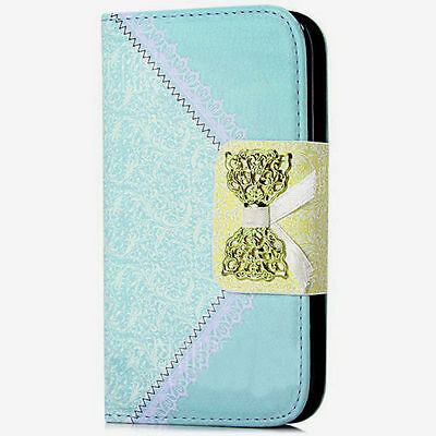 Women Style Blue PU Leather Wallet Case Cover For iPhone 6 Plus{{k75