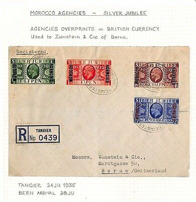 AQ9 1935 MOROCCO AGENCIES GB Silver Jubilee Overprint Set Tangier Registered PTS