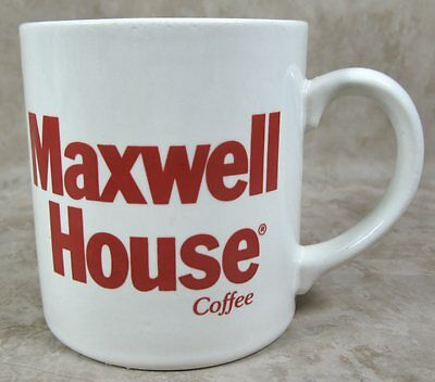 Vintage Maxwell House Coffee Mug Cup Red Writing Made in England