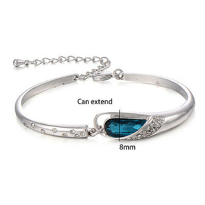 kids child aquamarine crystal bracelet children jewelry white gold plated bangle