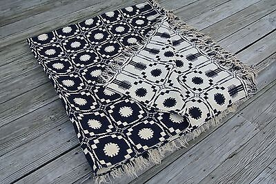 Antique Woven Wool Reversible Coverlet Navy and Cream (1800's)
