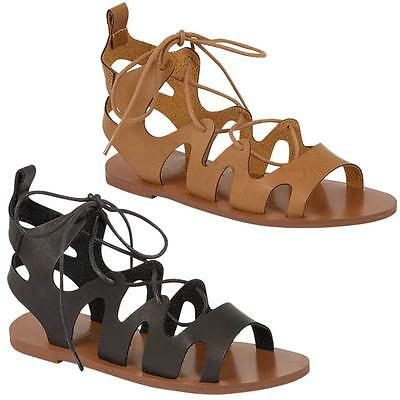 Womens Ladies Gladiator Lace Up Cross Over Summer Strappy Beach Sandals Shoes