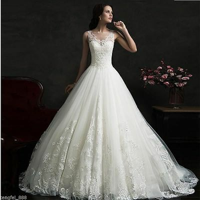 New White/Ivory lace Bridal Gown Wedding Dress Size 4 6 8 10 12 14 16 18 +