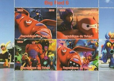 Big Red 6 Disney Kids Movie Republique Du Tchad 2015 Mnh Stamp Sheetlet