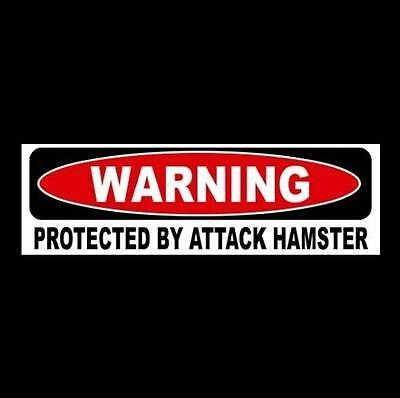 "Funny ""PROTECTED BY ATTACK HAMSTER"" window, door decal BUMPER STICKER sign, pet"
