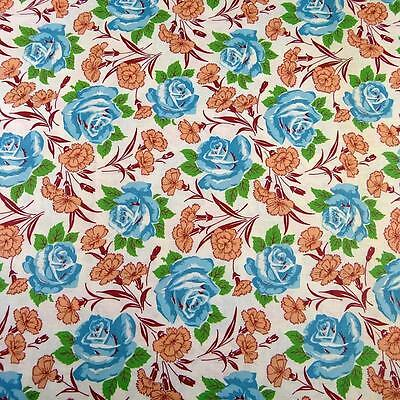 "Vintage Cotton Fabric 36"" W, Blue Roses on Ivory, Quilting, Per 1/2 Yd"