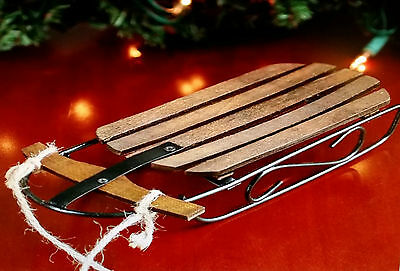 """Old Fashioned Rustic Wood Sled, •8-1/4"""" L x 1-1/2"""" H  Christmas Holiday Ornament"""