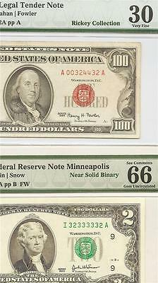 Super Bookend Pmg Pair - Rare Red Serial Chvf 1966 $100 Usn & 2003Fw $2 Chgem