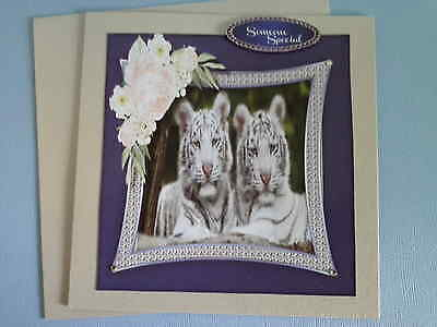 Pr White Tigers with flowers~SOMEONE SPECIAL~Any occasion~Handmade card 3D~