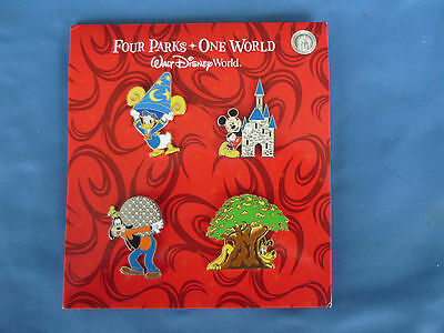 FOUR PARKS ONE WORLD  Disney  Pin  2012 SET of 4     New Card