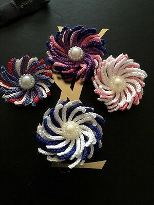 Set Of 4 Hand Crocheted Multiplayer Flowers