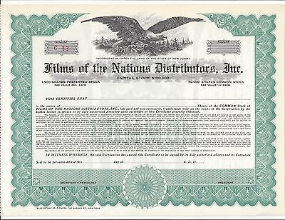 Films Of The Nations Distributors Inc....unissued Stock Certificate