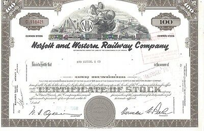 Norfolk And Western Railway Company.....1962 Stock Certificate