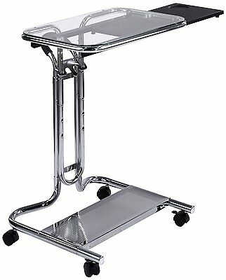 Studio Designs 51201 Laptop Cart with Mouse Tray in Chrome & Clear Glass