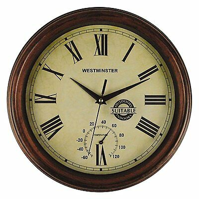 Luster Leaf 20052 York Outdoor/Indoor Clock with Thermometer 12 Inches