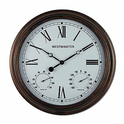 Luster Leaf 20053 Henley Outdoor/Indoor Clock with Thermometer 16 Inches