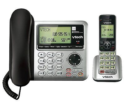 Vtech DECT CS6649 6.0 1-Handset Cordless/Corded Phone System Answering Machine