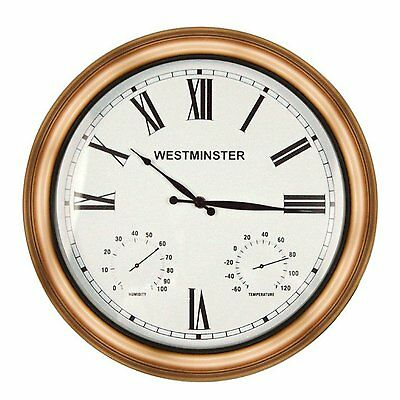 """Luster Leaf 20058 Outdoor/Indoor Clock with Thermometer & Hygrometer 16"""""""