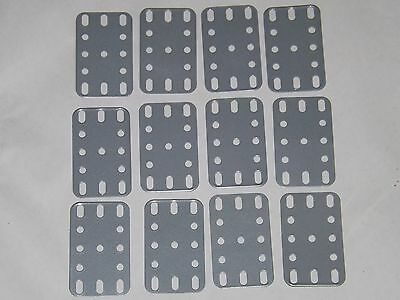 """Meccano Silver Flexible Plates, 1½"""" x 2½"""", Part Number 188, x 12"""