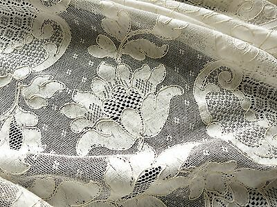 Vintage Antique French ALENCON Net LACE TABLECLOTH Flowers Chantilly 72x108 Ecru