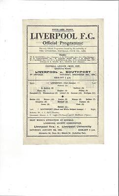 Liverpool v Southport War Cup Football Programme 1944/45