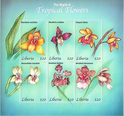 Liberia - The World of Tropical Flowers, 2001 - Sheetlet of 6 MNH