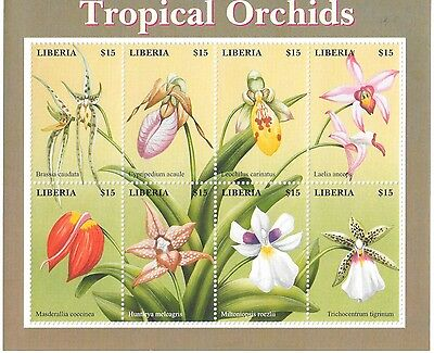Liberia - Tropical Orchids, 2000 - Sheetlet of 8 MNH