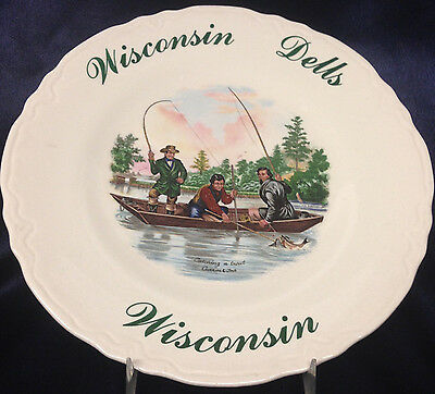 "Voeck Creations Friendship Wisconsin Dells Souvenir 9.5"" Plate Catching A Trout"