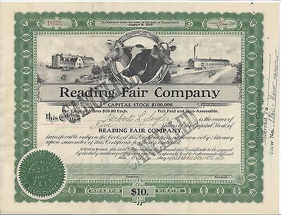 Reading Fair Company.......1915 Stock Certificate
