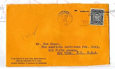 Australia 1938 Commercial Cover To New York Postal History X5595