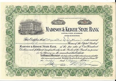 Madison & Kedzie State Bank.(Chicago,ill) ....1922 Stock Certificate