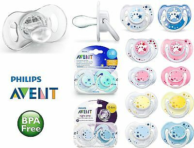 2 X AVENT Orthodontic  Glow in the Dark Night Baby Soothers Pacifier Dummy